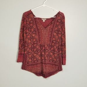 Lucky Brand Floral Paisley Print Long Sleeve Top